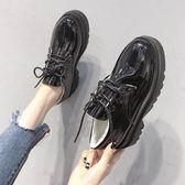 英倫皮鞋女黑色小皮鞋2019新款韓版百搭ulzzang厚底增高跟 qw4501【每日三C】