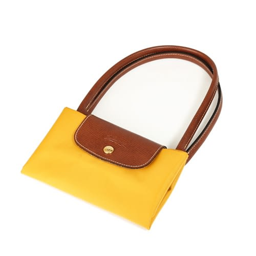 Longchamp Le Pliage 經典尼龍中型摺疊長柄水餃包(琥珀黃)