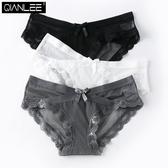 3條內褲女性感透明蕾絲面料無痕低腰三角褲純棉襠薄透氣網紗女士