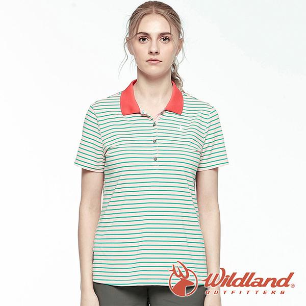 【wildland 荒野】女 彈性條紋YOKE上衣『湖水藍』0A81609 戶外 休閒 運動 露營 登山 騎車