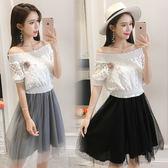 VK精品服飾 韓國風名媛拼色蕾絲網紗顯瘦假兩件短袖洋裝