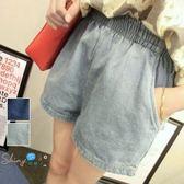 【T20604】shiny藍格子-漫步休閒.百搭水洗鬆緊腰寬鬆牛仔短褲