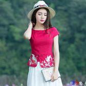 [貝貝居] 棉麻上衣 女裝 復古 民族風 文藝 繡花上衣 半袖 小衫 短袖 棉麻t恤