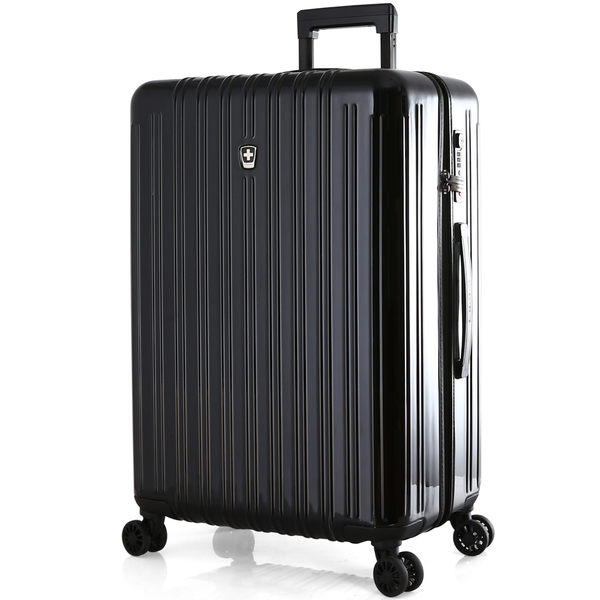 E&J【011024-02】SWISS MOBILITY經典雙線24吋PC耐撞TSA海關鎖行李箱-黑色 旅行箱/拉桿箱