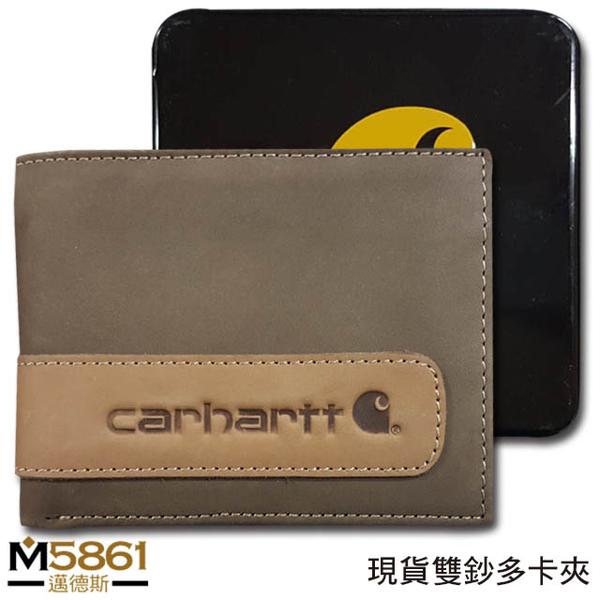 【Carhartt】男皮夾 短夾 牛皮夾 麂皮 雙鈔夾 經典鐵盒裝/棕色