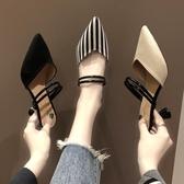 涼拖鞋女外穿2019新款尖頭女鞋穆勒鞋包頭兩穿高跟鞋ins潮鞋
