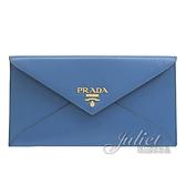 茱麗葉精品【全新現貨】PRADA 1MF175 浮雕LOGO水波紋信封型長夾.藍