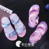 新款兒童涼鞋女夏季女童公主鞋可愛時尚防滑平底學生沙灘涼鞋-奇幻樂園