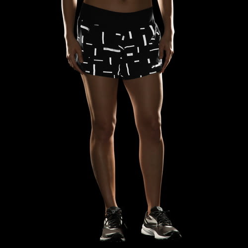 BROOKS  Chaser 吸濕 排汗 慢跑 低腰 短褲 彗星 反光 BK221040076(女 黑短褲)[陽光樂活]