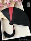 中國風古風和風摺扇子小日式全竹工藝扇 純色紅迷你男女 618購物節