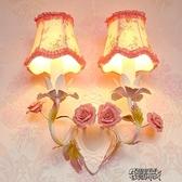 櫥櫃燈 田園風格創意韓式布藝婚房客廳兒童臥室女孩公主玫瑰花朵  【全館免運】