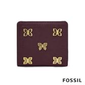 FOSSIL LOGAN 蝴蝶真皮RFID短夾-無花果紫紅色 SL7952503