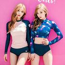 分體泳裝 兩三件式泳裝 韓國運動長袖泳衣 女保守三件套小胸聚攏分體比基尼溫泉游泳裝女
