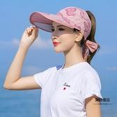 蕾絲遮陽帽女騎車百搭防曬防紫外線休閒帽【聚物優品】