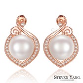 珍珠耳環 正白K飾「美麗不凡」耳針/耳夾 玫金款 母親節推薦