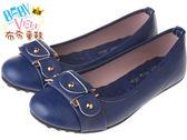 布布童鞋  流行金屬扣裝飾藍色柔軟健康公主鞋 (23.5-24.5公分)[ OFB907B ] 藍色款