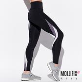 Mollifix 瑪莉菲絲 不對稱切割撞色全長褲 (黑)