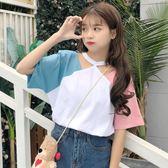 夏裝新款韓版小清新寬鬆百搭拼接拼色掛脖學生短袖T恤巨袖上衣女     韓小姐