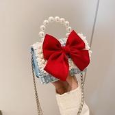 兒童包包小女孩公主女童斜背包時尚卡通潮可愛鏈條配飾珍珠手提包 韓國時尚 618