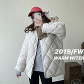 棒球服夾克外套 韓版菱格寬松學生棉服女秋冬季 新款小個子輕薄棒球服棉衣外套 優拓
