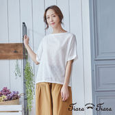 【Tiara Tiara】菱格拼接純棉短袖上衣(白/綠) 新品穿搭