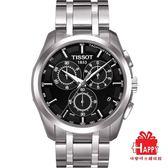 TISSOT天梭Couturier 建構師系列三眼計時腕錶*T0356171105100黑