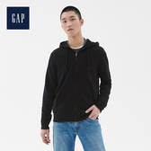 Gap男裝柔軟復古拉鏈連帽休閒上衣488112-純正黑