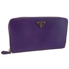 【奢華時尚】PRADA 紫色斜紋牛皮金色三角牌多功能護照拉鍊長夾(八八成新)#25184