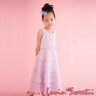 【Lovin' Sweetii】氣質小公主V領A字層次裙童洋裝~粉紅色限量款