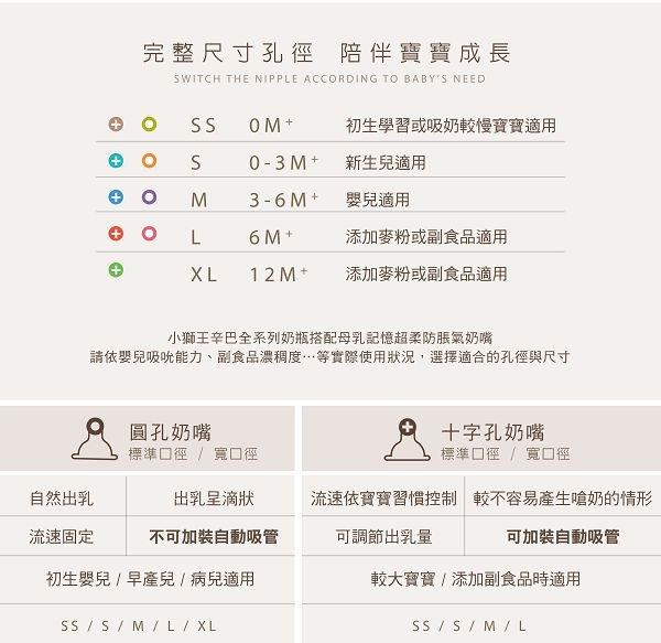 小獅王辛巴simba 超柔防脹氣寬口十字奶嘴 4入(S/M/L/XL)