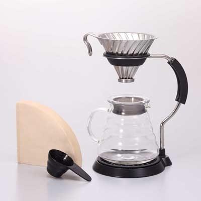金時代書香咖啡 HARIO V60金屬濾杯支架咖啡壺組 VAS-8006-HSV