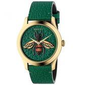 GUCCI G-Timeless前衛浮刻蜜蜂牛皮時尚腕錶/翡翠綠/1264065