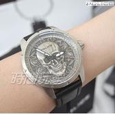 POLICE 義大利精品 Reaper 立體骷塿頭造型男錶 防水手錶 運動錶 暗黑潮流腕錶 真皮錶帶 15397JS-57