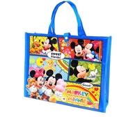 〔小禮堂〕迪士尼 米奇米妮 橫式不織布手提購物袋《黃藍.格圖》環保袋.手提袋 4941829-00539