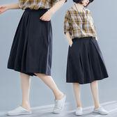 棉麻闊腿褲女2019新款夏裝寬鬆大碼女褲顯瘦褲裙胖mm百搭五分褲子