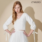 OMUSES 美背排釦綁帶袖白色上衣
