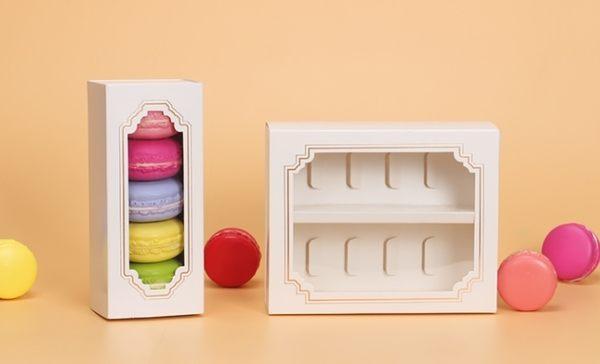 5粒 純白馬卡龍盒 透明包裝盒 抽屜式開窗纸盒 巧克力盒 烘焙包装盒子 糖果盒 餅乾盒 點心盒