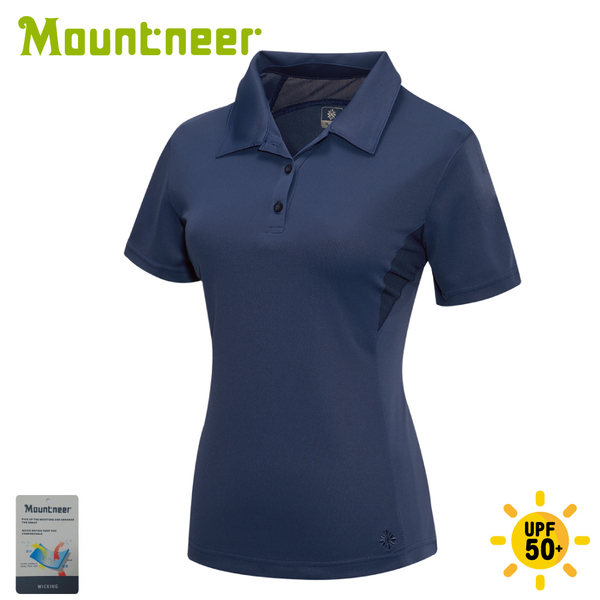 【Mountneer 山林 女 透氣排汗上衣《深藍》】31P28/POLO衫/休閒短袖/排汗衣
