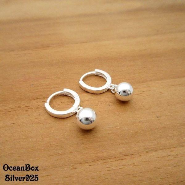 ☆§海洋盒子§☆ 甜美優雅垂墜圓珠針式易扣耳環 《925純銀耳環》
