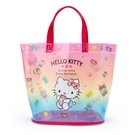 小禮堂 Hello Kitty 透明海灘袋 水桶提袋 游泳袋 泳具袋 防水袋 (紅 2021炎夏企劃) 4550337-47394
