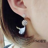 耳環 新款韓國後掛式滿鑽雙球 耳針耳環【1DDE0077】
