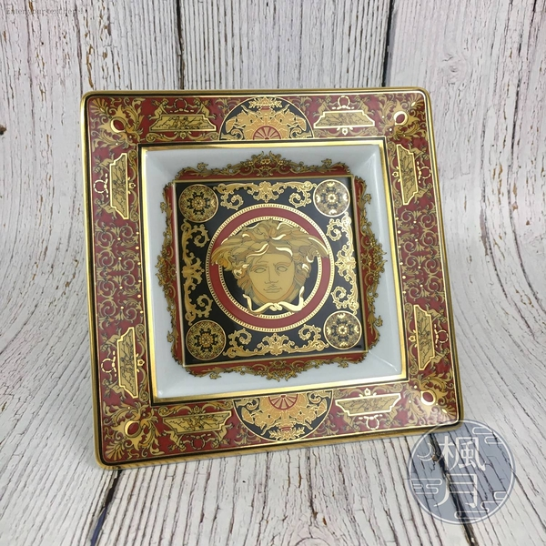 BRAND楓月 VERSACE 凡賽斯 紅色 巴洛克 梅杜莎 方盤 瓷盤 盤子