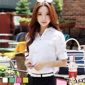 襯衫韓版氣質寬鬆清新素色OL口袋長袖女襯衫LIYO理優E745021