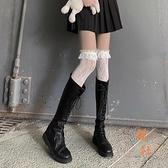 絲襪蕾絲過膝襪女洛麗塔小腿襪jk花邊襪子中筒【橘社小鎮】