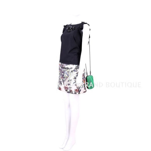 BOTTEGA VENETA KNOT 刷色編織手拿/鍊帶晚宴包(翡翠綠) 1540971-08