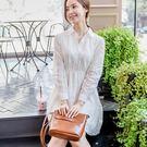 喬依洋裝 白色長袖蕾絲 高質感雪紡洋裝 ...