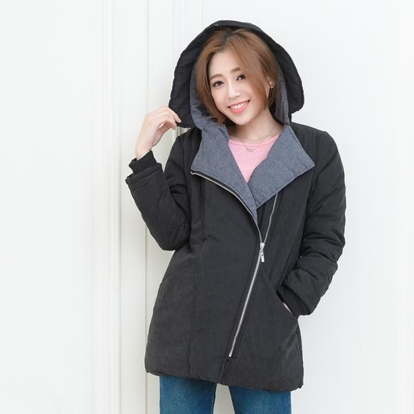 鋪棉外套-保暖禦寒羅紋袖口斜拉鍊暗扣雙口袋連帽鋪棉外套(黑.卡其XL-5L)-J302眼圈熊中大尺碼◎