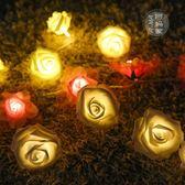 LED玫瑰花小彩燈閃燈串燈臥室裝飾花電池燈派對婚房浪漫錶白燈串 igo