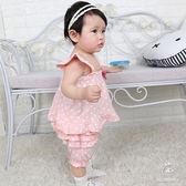 嬰兒短袖套裝 吊帶背心+短褲 花邊蛋糕褲 寶寶童裝 CA3230 好娃娃
