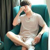夏季大碼男士睡衣短袖薄款運動套裝夏天男款冰絲綢短褲家居服❥ 全館1元88折